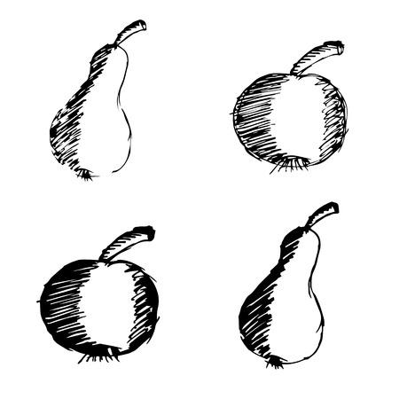 애플과 배 손으로 그려진 된 낙서 아이콘 eps10