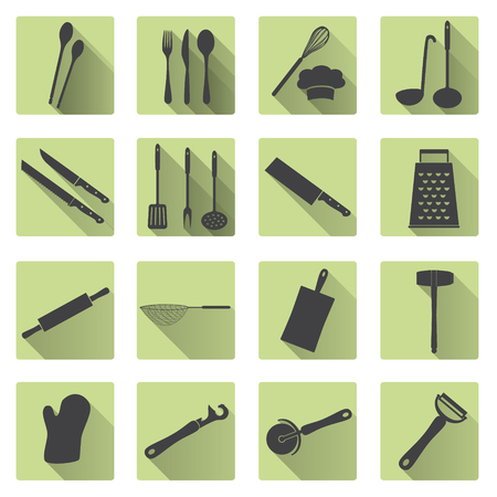 cooking utensils: home kitchen cooking utensils flat shadow icons eps10