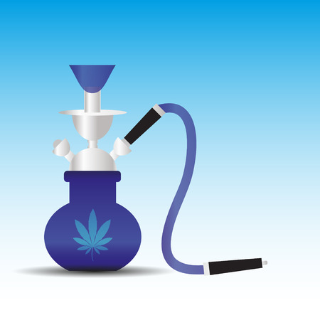 canabis: blue and silver water pipe with canabis symbol