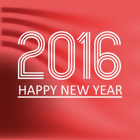 pf: happy new year 2016 on red wave color background