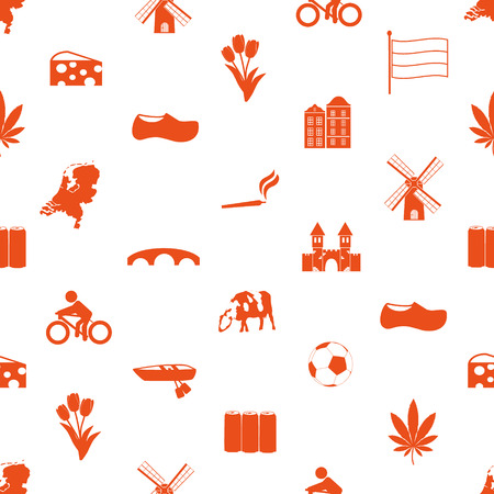 clogs: Netherlands country theme icons set seamless pattern