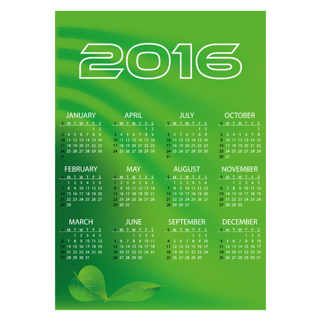 1 2 month: 2016 simple business green waves wall calendar