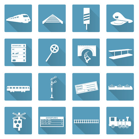 train: train and railway flat white icons set eps10