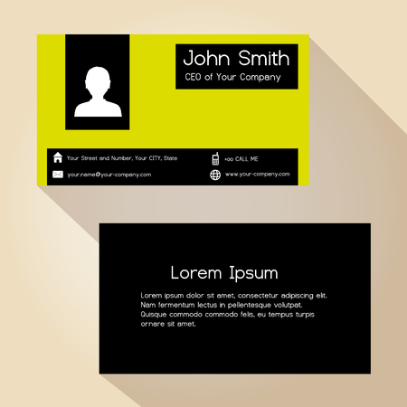 yellow block: simple black and yellow block business card design eps10