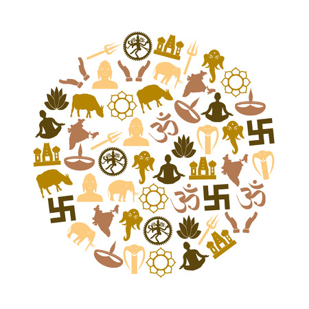 god's cow: hinduism religions symbols vector set of icons in circle eps10 Illustration