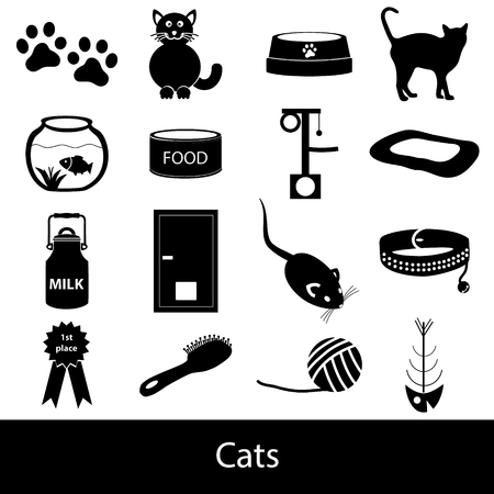 mamal: cats pets items simple black icons set eps10