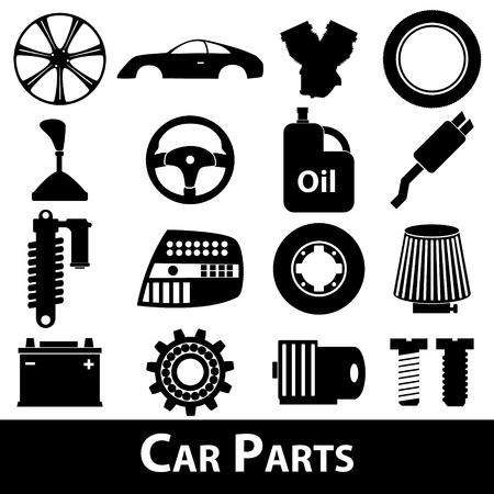 simple store: car parts store simple black icons set eps10