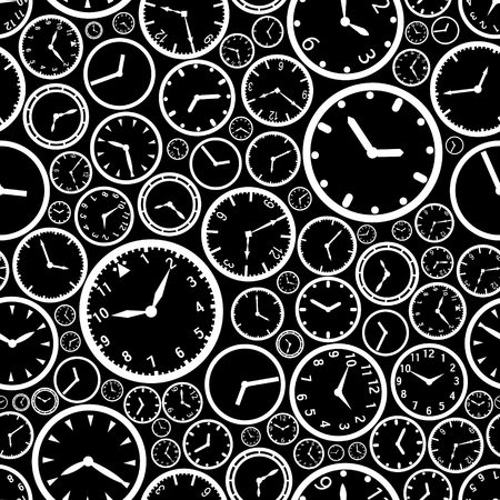 watch: white watch dial and black background seamless pattern eps10 Illustration