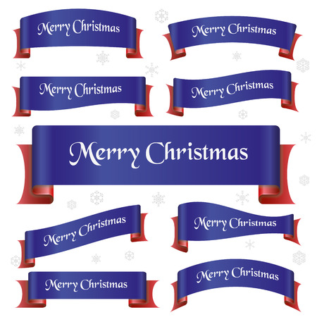 curved ribbon: blue and red merry christmas curved ribbon banners eps10