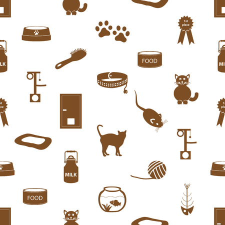 mamal: cats pets items simple icons seamless pattern eps10