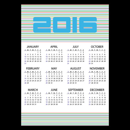 january 1: 2016 simple business wall calendar with color stripes