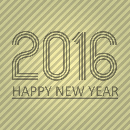 pf: happy new year 2016 on the striped paper background