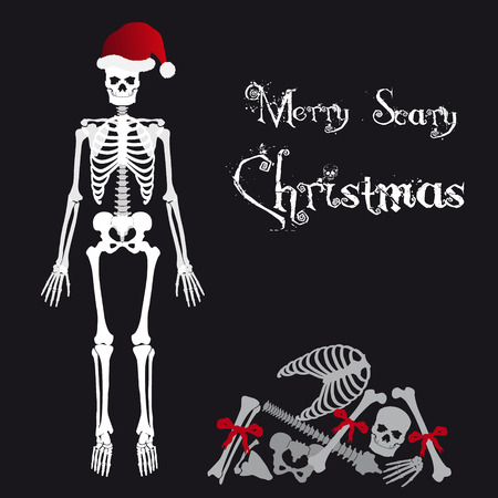 ghostly: Santa Claus skeleton scary christmas greetings card