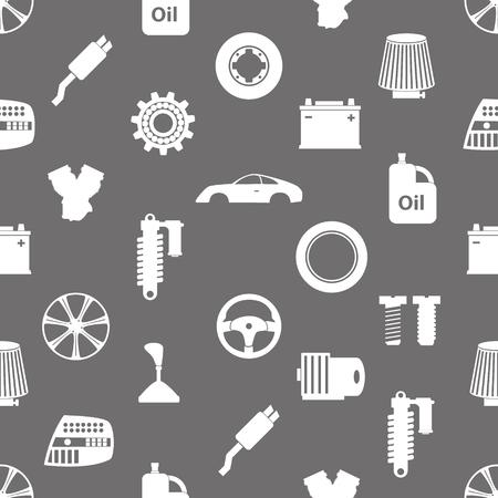 auto-onderdelen op te slaan eenvoudige pictogrammen naadloos patroon Stock Illustratie