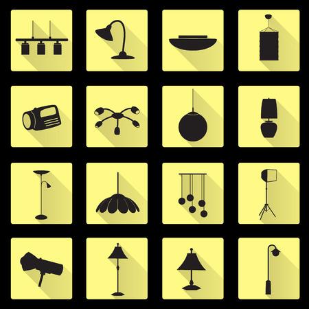 home furnishings: lighting flat black and yellow icons set