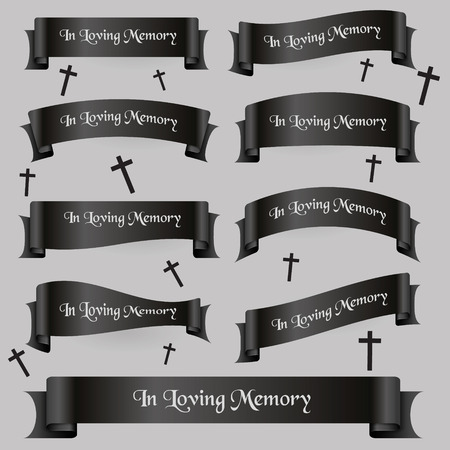 funeral: black funeral ribbon banners set with text eps10