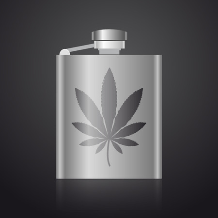 intoxicant: alcohol silver hip flask with weed symbol eps10 Illustration
