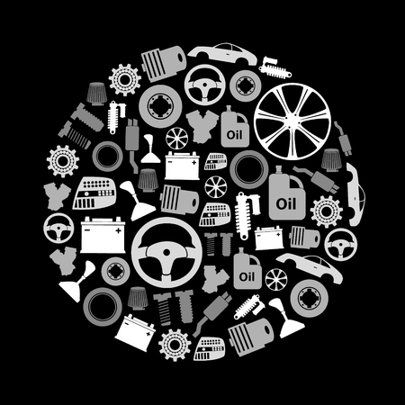 car parts store simple gray-scale icons in circle