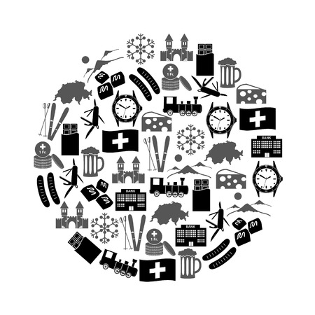 Switzerland country theme symbols icons in circle