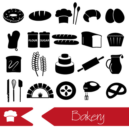 knive: simple black bakery items icons set