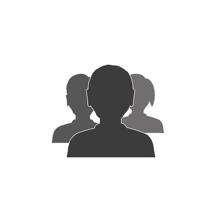 trio: trio man and woman heads simple avatar business icons
