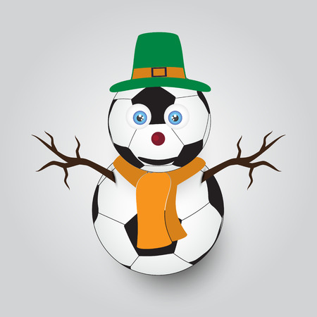 childern: isolated white winter happy snowman from football balls