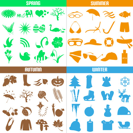 garden stuff: four seasons of the year big set of icons