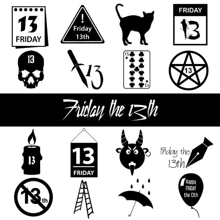 friday 13: friday the 13 bad luck day icons set Illustration