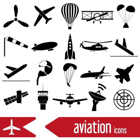 aviation grand ensemble d'icônes simples