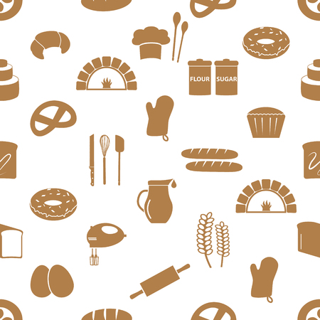 knive: simple bakery items icons seamless pattern Illustration