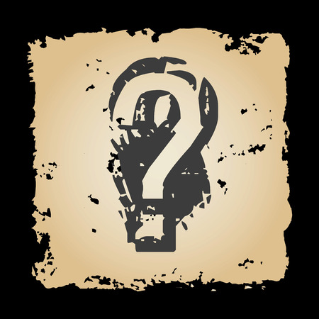 tattered: old retro tattered paper with question mark