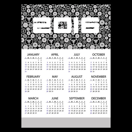 1 2 month: 2016 time clock theme business wall calendar Illustration