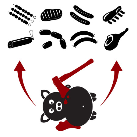 grease: yummy pork food and little pork killed by axe Illustration