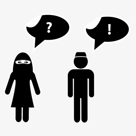 niqab: islamic man and woman talks with speak bubbles