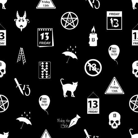 bad luck: friday the 13 bad luck day icons seamless pattern Illustration