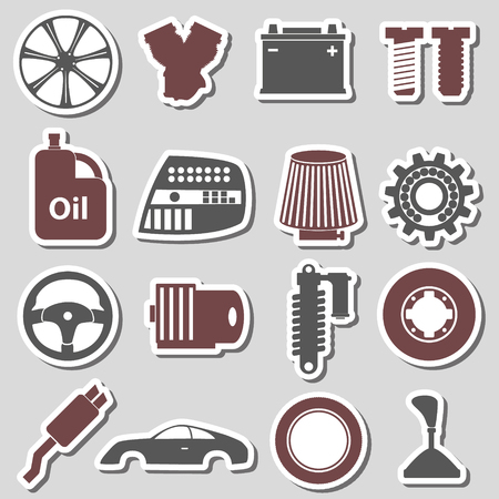 simple store: car parts store simple stickers set eps10 Illustration