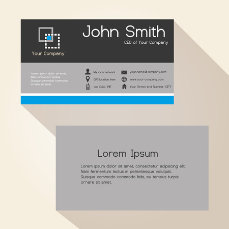 blue stripes: simple gray and blue stripes business card design eps10