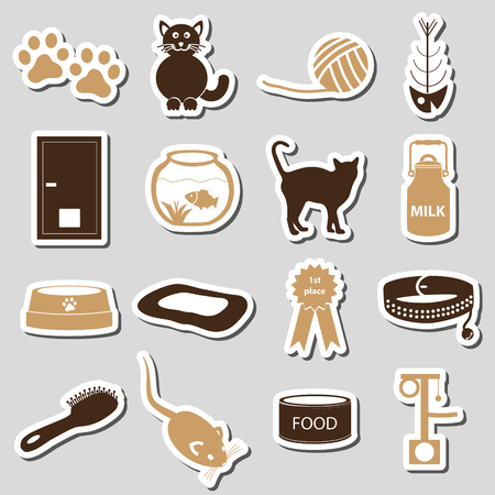 mamal: cats pets items simple stickers set eps10