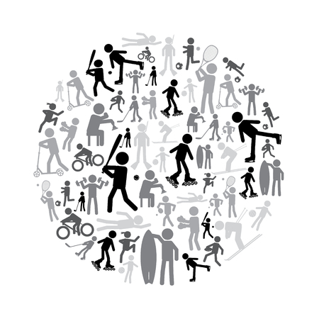 healty lifestyle: sport silhouettes grayscale simple icons set in circle eps10