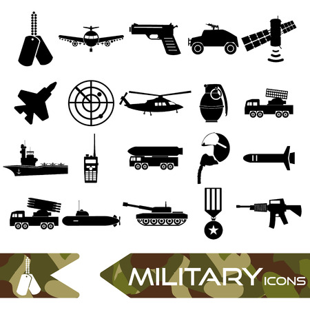 military and war icons: military theme simple black icons set eps10 Illustration