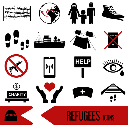 military and war icons: various simple refugees theme icons set eps10