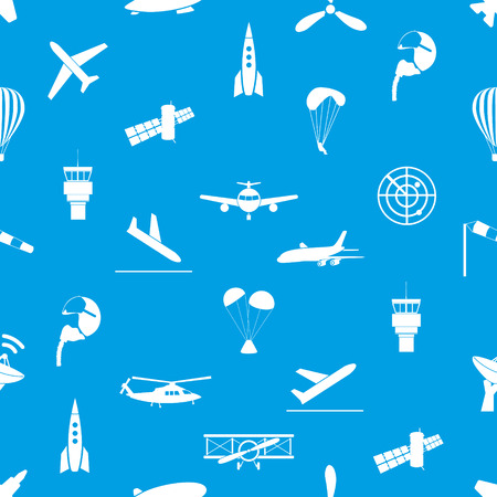 pilot wings: aviation icons blue and white seamless pattern eps10