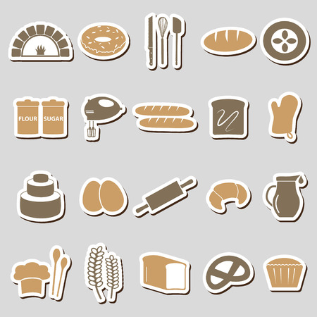 knive: simple bakery items color stickers set eps10