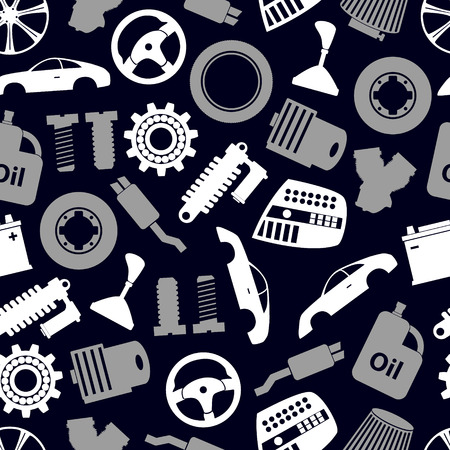 simple store: car parts store simple icons seamless dark pattern eps10