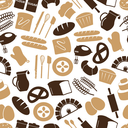 knive: simple bakery items icons seamless color pattern eps10 Illustration