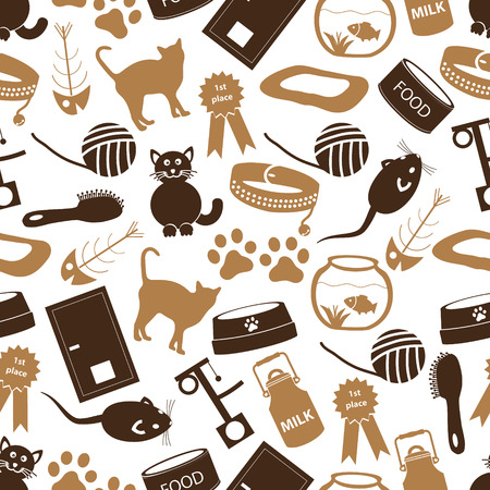 mamal: cats pets items simple icons seamless color pattern eps10