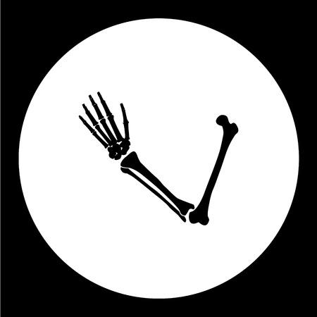 forearm: one human hand from bones black icon eps10 Illustration