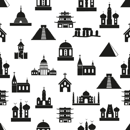 religions: world religions types of temples icons seamless pattern eps10
