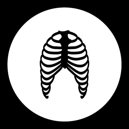 ribs: human ribs bones black simple icon eps10