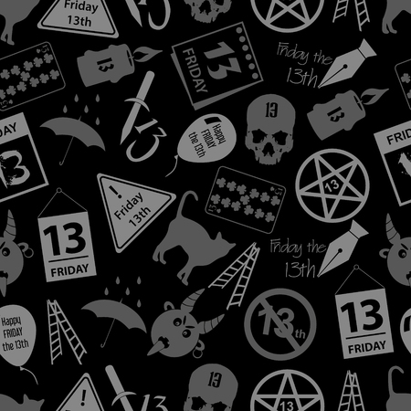 bad luck: friday the 13 bad luck day icons seamless dark pattern eps10 Illustration